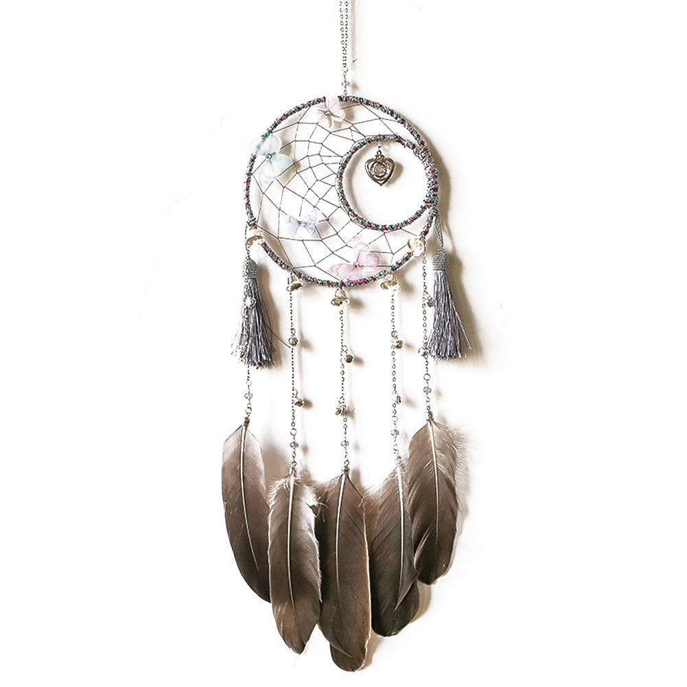 handmade dream catcher retro gray dreamcatcher net with feathers beads wall hanging ornament