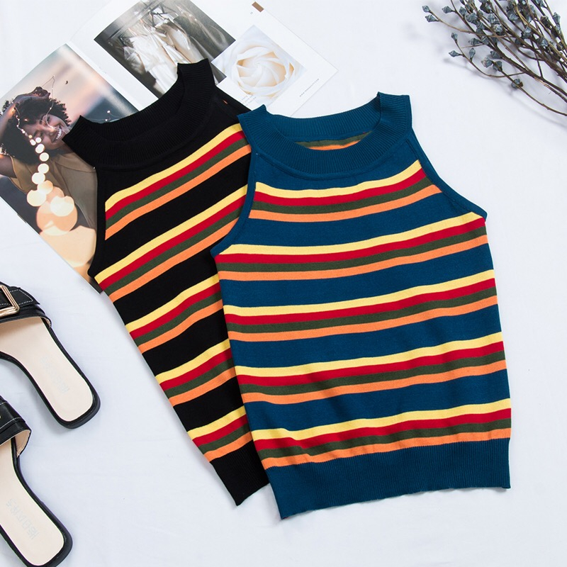 2018 New Stripe   Tank     Tops   Women Summer Autumn Sexy Knited   Tank     tops   Candy Color Cropped Tees Female Sleeveless T shirt Camis   Top