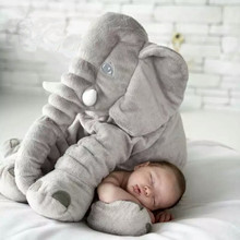 2019 Hot 40cm/60cm Large Plush Elephant Doll Kids Sleeping Soft Back Cushion Cute Stuffed Elephant Baby Accompany Doll Xmas Gift недорго, оригинальная цена