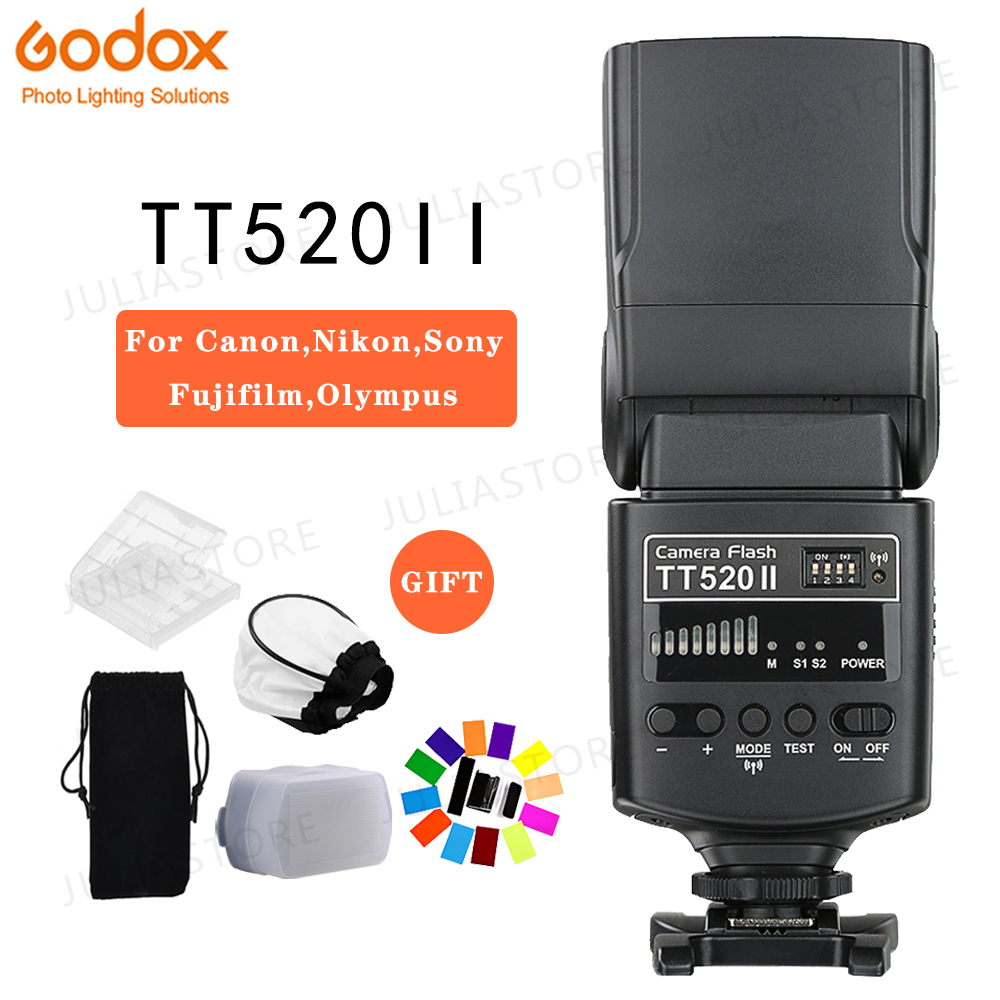 Godox TT520 II Flash TT520II with Build in 433MHz Wireless Signal Color Filter Kit for Canon