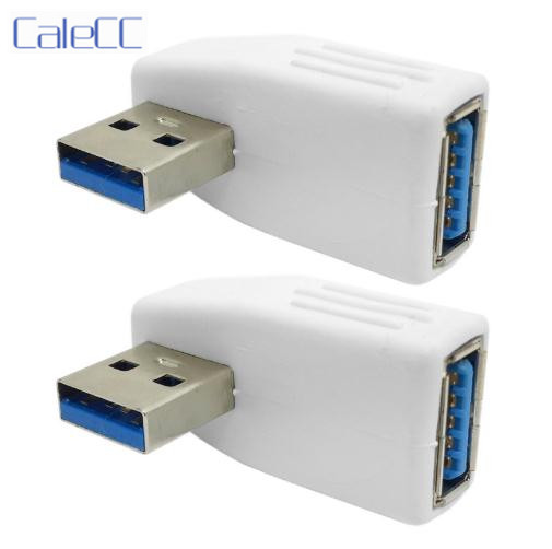 Vertical Left Angled 90 Degree USB 3.0 Adapter A Male To Female Extension White