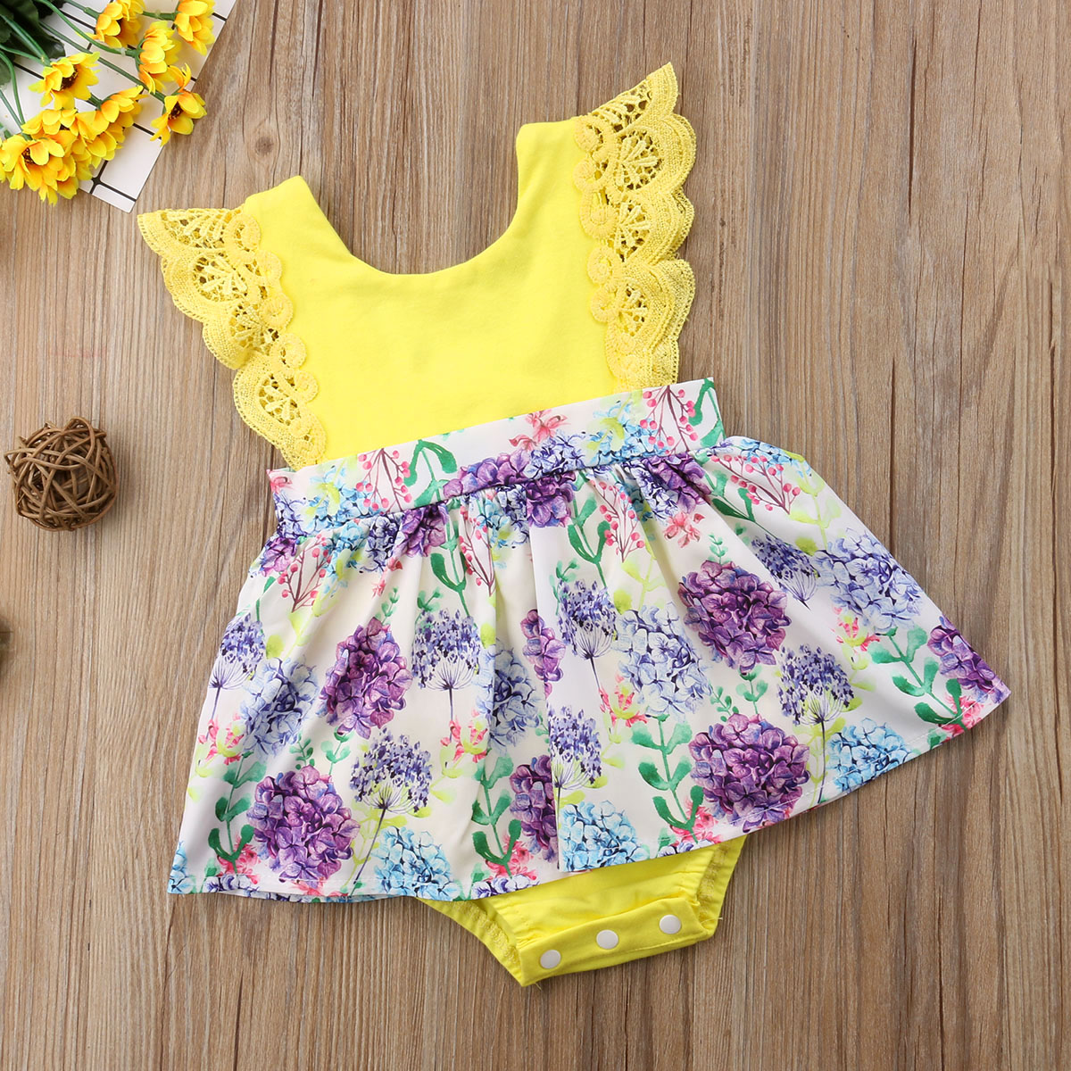db2119800 2018 Toddler Kid Baby Girls Lace Flower Yellow Sister Match Romper Dress  Outfits Clothes Family Matching Yellow Cute Summer Set-in Matching Family  Outfits ...
