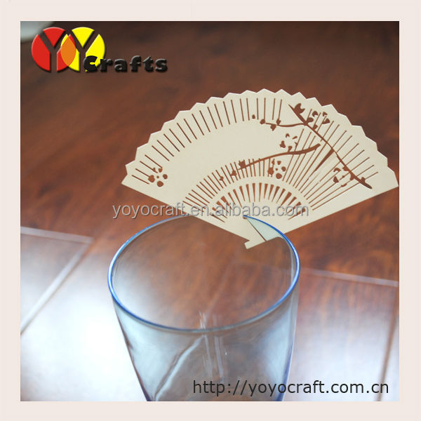 PLC037--100pcs wedding decoration place card ,fan shape place cards on wine glass free logo