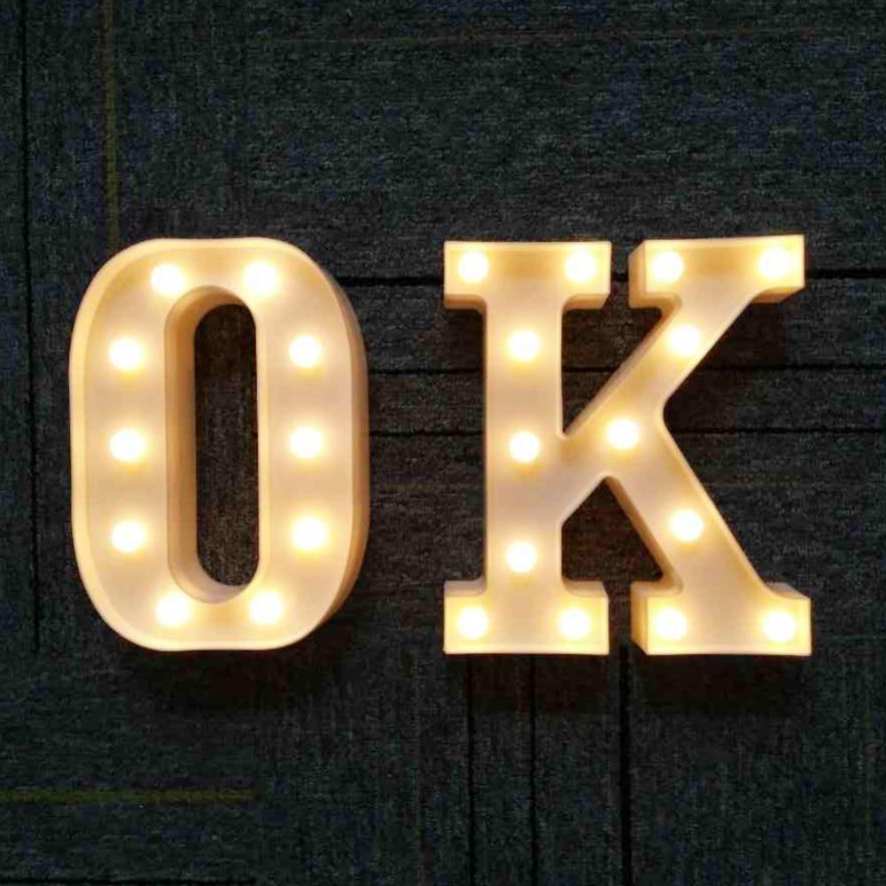 A Z Alphabet LED Letter Light 3D Decoration Symbol Indoor Wall ...