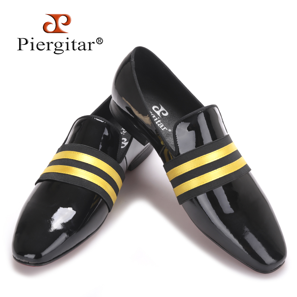 2017 Brand PIERGITAR Handmade Men Patent leather Shoes Lace-Up Wear Comfortable Men Dress Wedding Shoes Prom Men's Loafers piergitar 2016 new india handmade luxurious embroidery men velvet shoes men dress shoes banquet and prom male plus size loafers