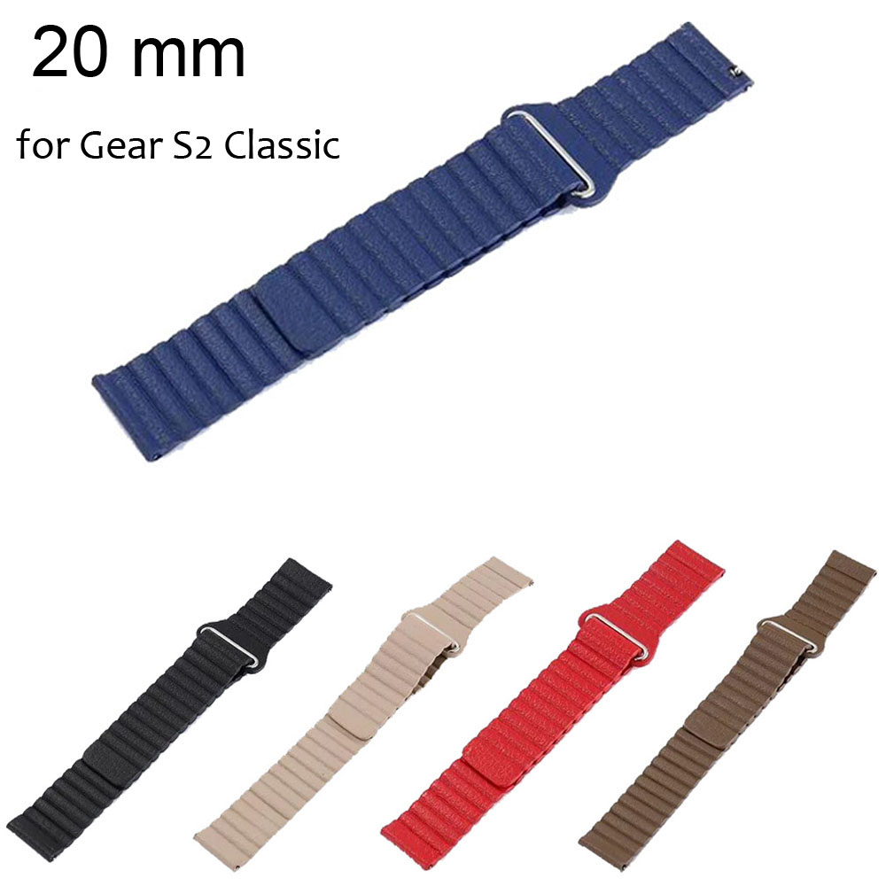 20mm Magnetic Closure Wrist Strap for Samsung Gear S2 Classic SM-R732 Band Genuine Leather Loop Bracelet Wristband with Pins splendid luxury leather loop type watch band strap for samsung gear s2 classic sm r732