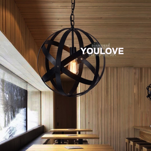 American Country Vintage Globe Pendant Lights Fixture Nordic Round Droplight Home Indoor Lighting Dining Room Restaurant Lamps