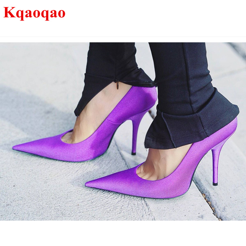 New Pointed Toe Women Pumps High Thin Heel Luxury Brand Super Star Runway Shoes Wedding Party Bridal Pumps Satin Shoes Stiletto sequined high heel stilettos wedding bridal pumps shoes womens pointed toe 12cm high heel slip on sequins wedding shoes pumps