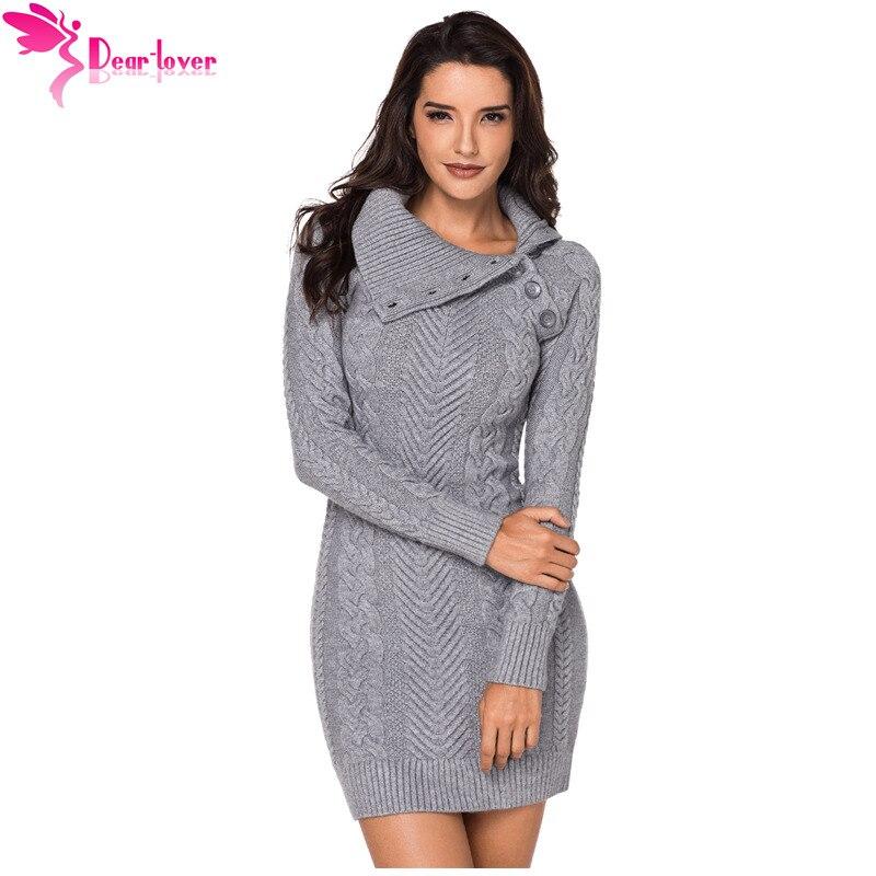 Cher amant pull robe Femme hiver asymétrique col boutonné noir moulante chaud tricoté robe Vintage pull Femme LC27864