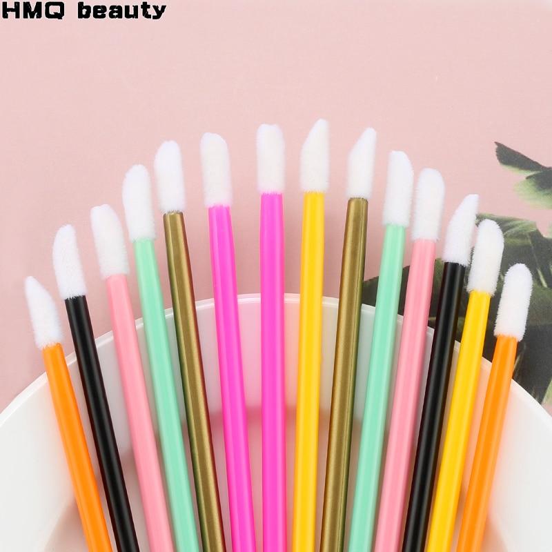 50pcs Disposable Lip Brush Set Lipstick Mascara Wands Brush Cleaning Eyelash Eyebrow Make Up Applicators Tools