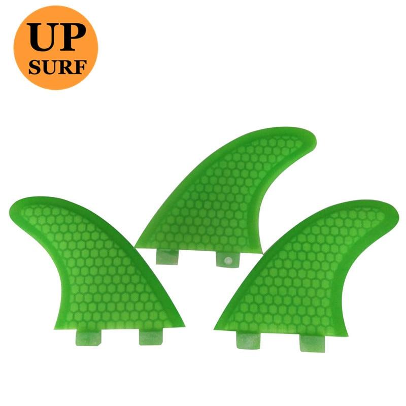 Szörfbordák G7 Zöld színű Üvegszálas FCS Fin Surf táblák G3 / G5 méret Fin szörfözés