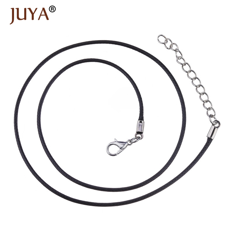20 Pcs Wholesale 1.5 mm Black Leather Cord Lobster Clasp 45cm Wax Rope Chain for DIY Making Pendant Necklace Jewelry Accessories