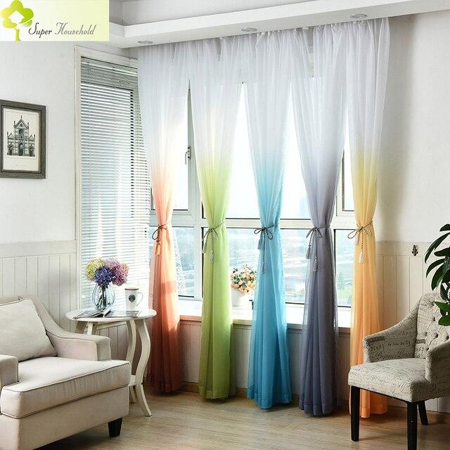 Weiche Sheer Vorhänge für Wohnzimmer Einfarbig Tüll Fenster Vorhang ...