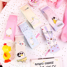 Duck pencil cases for girls gift Cute milk pencil box Stationery pen pouch Storage bag material school supplies escolar zakka cute cocoa kingdom school pencil case kawaii zipper pencil pouch stationery bag for kids office school supplies escolar zakka