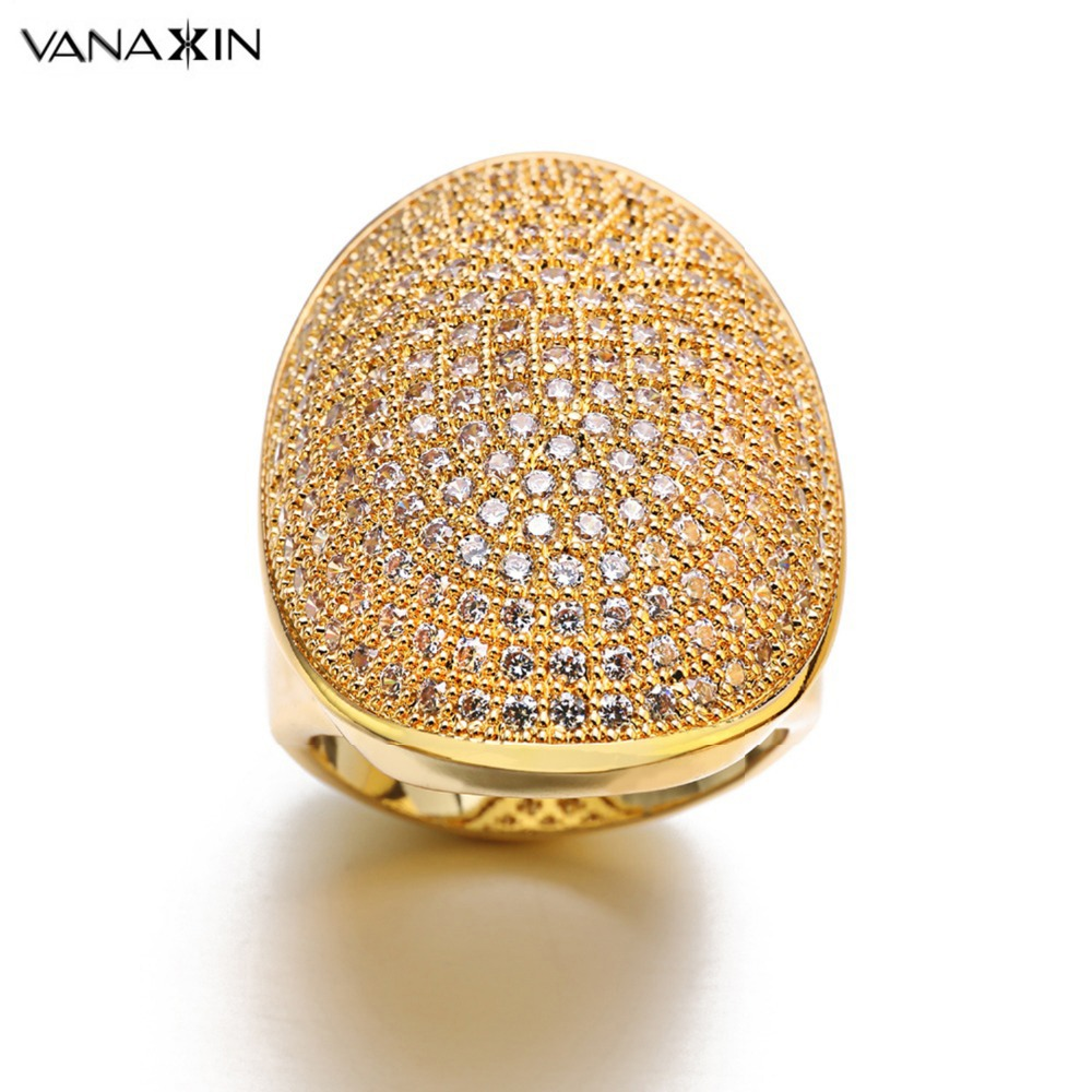 VANAXIN Dubai Big Wide Women Cocktail AAA Iced Out Zirkon Bridal Ring - Märkessmycken - Foto 1