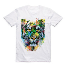 Modal Acuarela Animal Printed Tiger/Lion/Eagle/Wolf /Owl/Elephant/Dog/Deer/Panda/Rabbit Summer Casual Short Sleeve T-Shirt