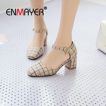 ENMAYER 2019  Mary Janes High Square Heel Women Shoes Toe Casual Buckle Strap Fashion Pumps Size 34-43 LY1737