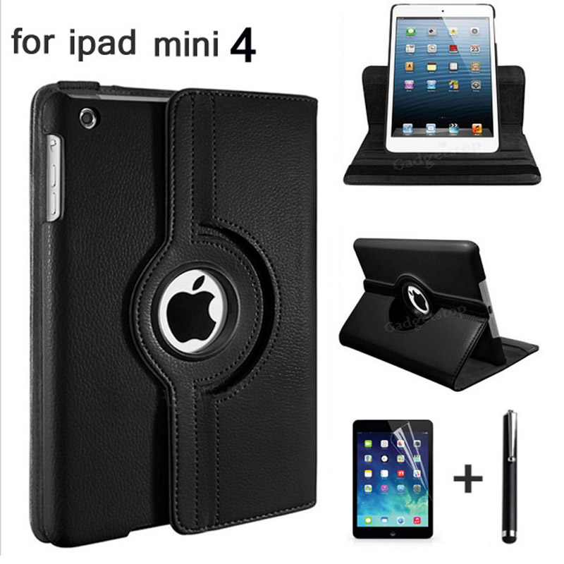 HOT!360 Rotation PU Leather case for Apple ipad mini 4 Smart case flip cases stand cover for ipad Mini4 case+film+pen 360 rotation pu leather case for apple ipad mini 1 2 3 smart cover flip case with stand function for pad mini with retina pen