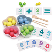 Montessori Math Counting Toys Addition And Subtraction Arithmetic Card Toy Chinese Wooden Chopsticks Spoon Learning Toy wooden tray montessori learning math puzzle number montessori learning games education clock arithmetic counting toys baby math