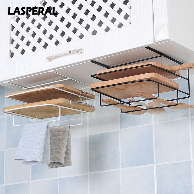 Lasperal Double Layer Iron Kitchen Cabinets Shelf Chopping Board Storage Rack Shelves Towel Holder Free Drilling