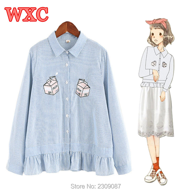 Lolita Sweet Women Striped Shirt Harajuku Ruffled Hem Fresh Cream Embroidery Blouse Preppy Style Students Blouses Basic Tops WXC