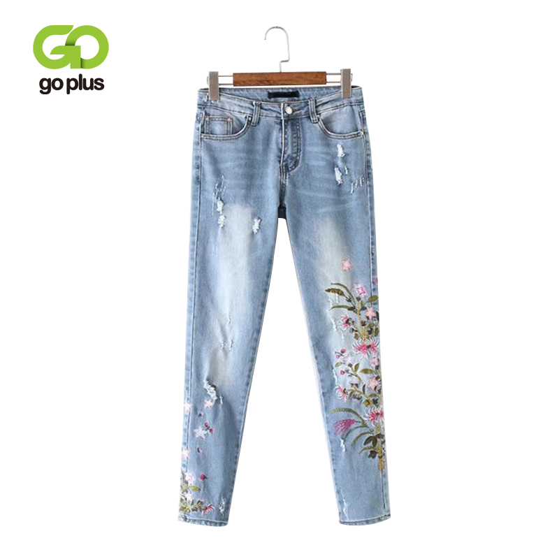 GOPLUS 2019 New Boyfriend   Jeans   Ripped High Waist Dense Denim Floral Embroidered   Jeans   For Women Plus Size Pencil Pants C6925