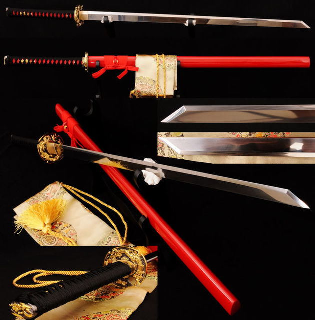 Free stand +1095 High Carbon japanese ninja sword KIRIHA-ZUKURI blade Dragon Tsuba