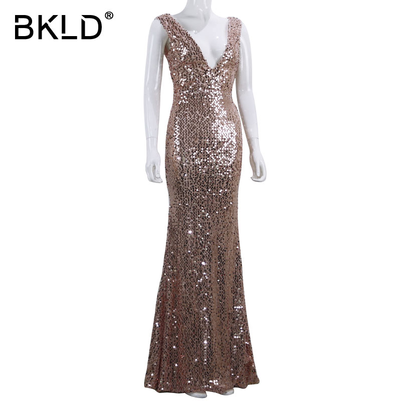 BKLD Rose Gold Sequin Party Club Dress 2018 Women Sexy Summer Back Zipper  Dresses Slim Sleeveless V Neck Mermaid Maxi Long Dress-in Dresses from  Women s ... 906858b5adc0