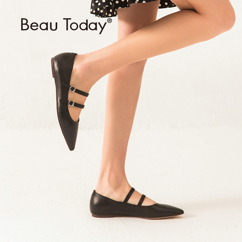 BeauToday Mary Jane Shoes Women Genuine Calfskin Leather Pointed Toe Buckle Strap Top Quality Female Ballet Flats Handmade 24054BeauToday Mary Jane Shoes Women Genuine Calfskin Leather Pointed Toe Buckle Strap Top Quality Female Ballet Flats Handmade 24054