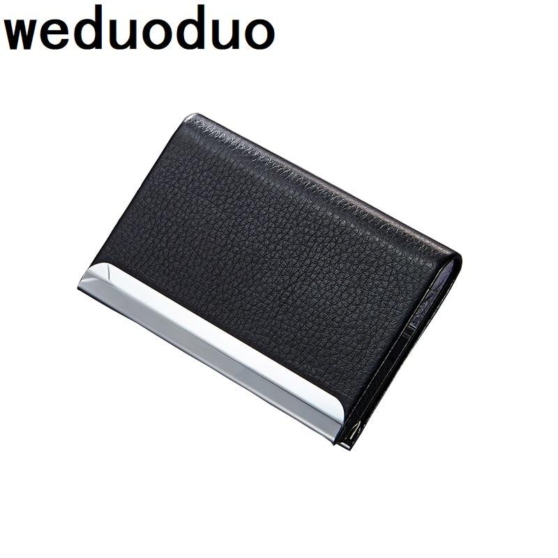 Weduoduo Fashion ID Cardholder Wallet Leather Business Women Men Credit Card Holder Travel Name Card Holder Organizer Holder