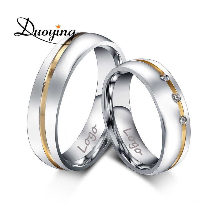 duoying custom name wedding rings for ebay amazon with engraving inside stainless steel rings with aaa - Wedding Rings On Ebay