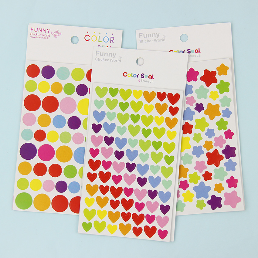 12 sheets lot new colorful dots star heart paper sticker for Stickers deco