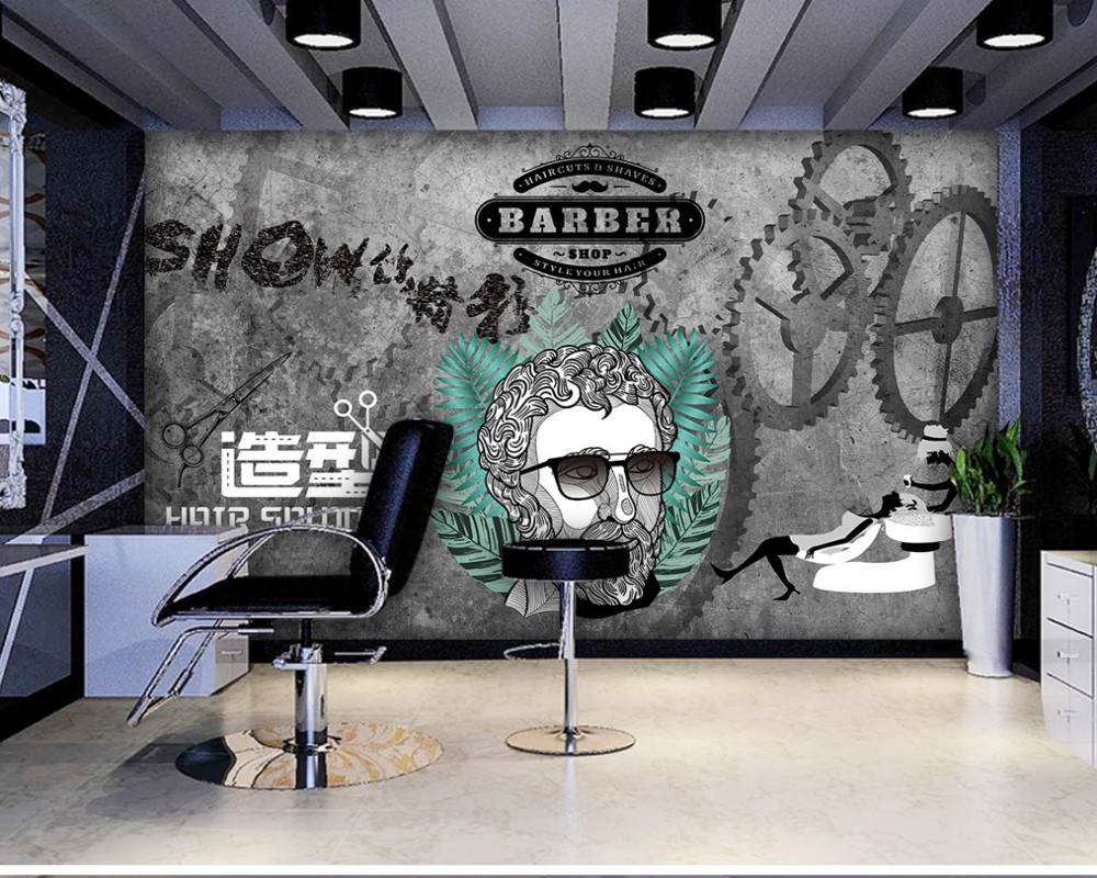 Free Shipping Barber Shop Design Shop Custom 3D Fashion Photo Wallpaper Background Wall Hair Salon Men Barber Shop Mural 10 20feet 300 600cm photography background boats dock house wallpaper free shipping
