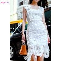 HANZANGL 2017 Fashion Designer Runway Dress Women S Sexy Sleeveless Tassel White Lace Dress Casual Party