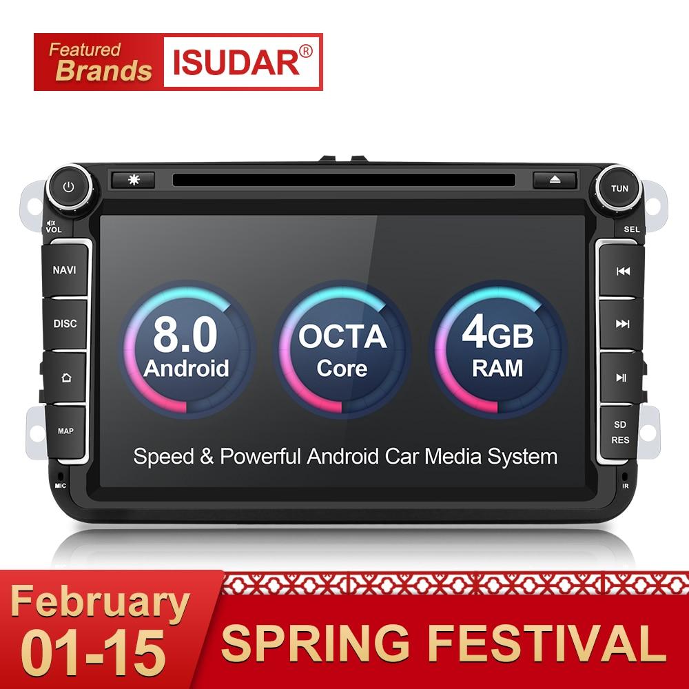 Isudar Voiture lecteur multimédia Android 8.0 GPS 2 Din autoradio Audio Auto Pour VW/Volkswagen/POLO/PASSAT/ golf 8 Noyaux FM Radio IPS
