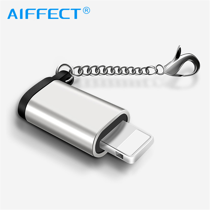 AIFFECT Micro USB TO Lighting OTG Adapter With Key Chain For Apple For Iphone X 7 8 6 Mini Sync Data Charging Converter