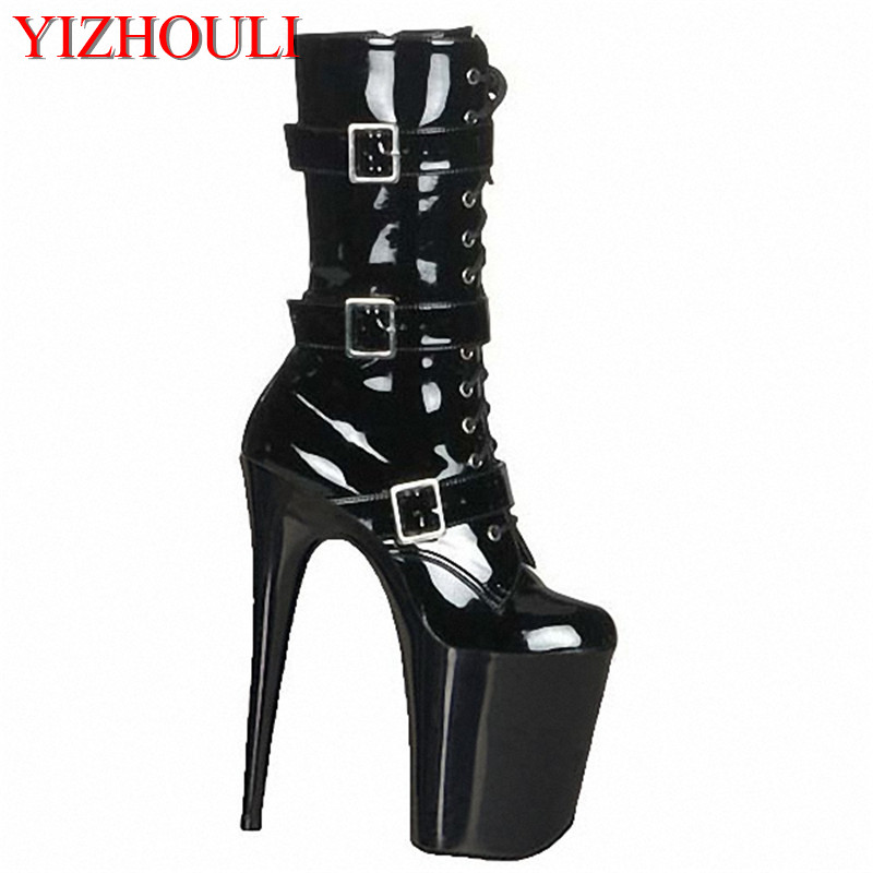 rider boots, gladiator ankle boots, transparent crystal black lacquered shoes 20cm Dance Shoes