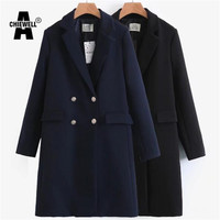 Achiewell 2017 new Fashion Long OL Trench Coat Women Winter navy Coats Elegant dress Vintage Female clothing