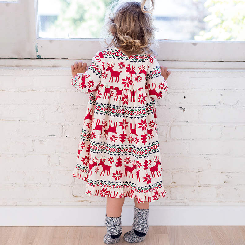 2-7 Years Girls Long Sleeve Dress Spring Autumn Cotton Cute Christmas Deer Printing Casual Dresses Kids Clothing KF627 все цены
