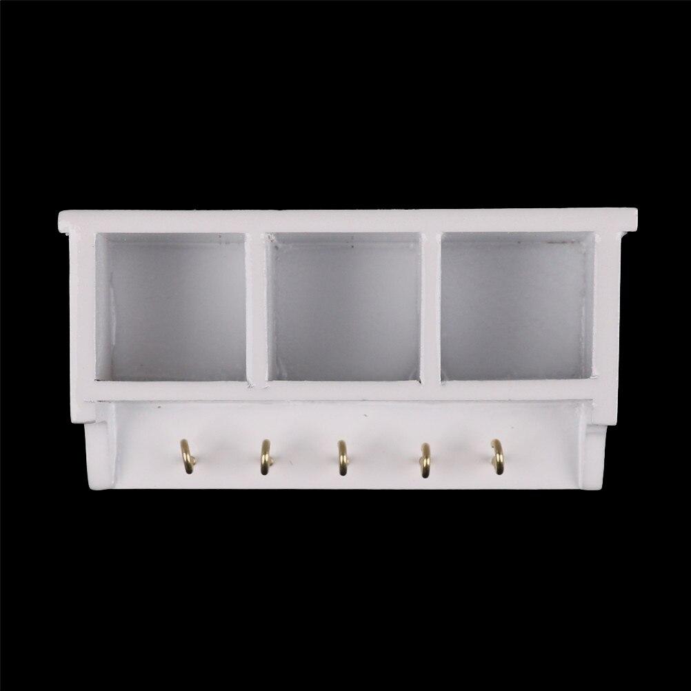 1:12 Dollhouse Miniature Kitchen Wood Wall Rack Shelf With Hook White Room Decor