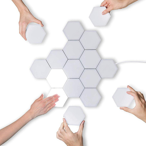 diy toque sensivel a luz da noite modular hexagons magneticos decoracao criativa parede lampara quantum
