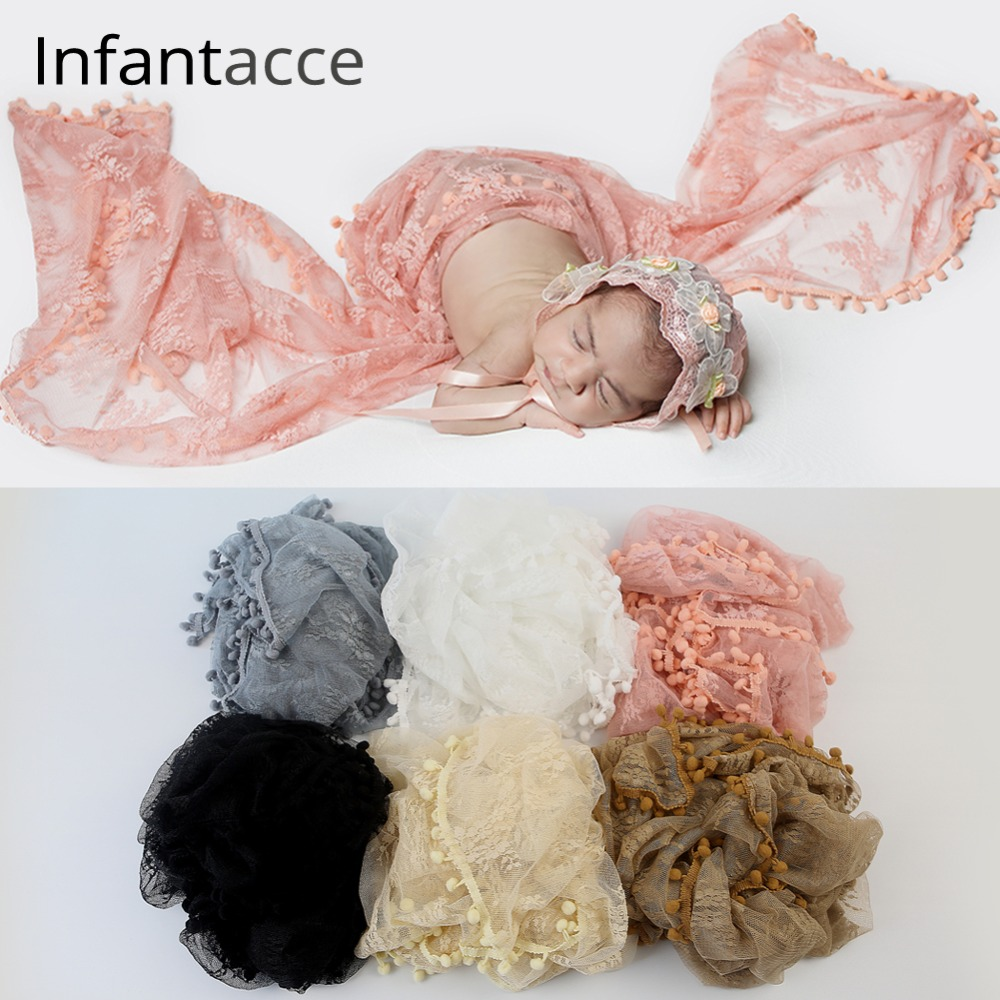 Baby Newborn Ruffle Swaddle Wrap Lace Blanket Stretch Photography Photo Prop