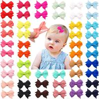"50 Pieces 25 Colors in Pairs Baby Girls Fully Lined Hair Pins Tiny 2"" Hair Bows Alligator Clips for Little Girls Infants Toddler"