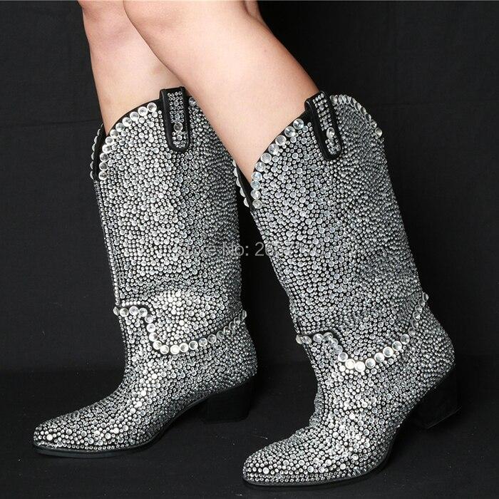 Botas Haute Qianruiti As Bottes Femmes De Bottines Diamant Chaussures Cristal Bloc Pic Bout as Genou Talon Med Longues Luxe Designer Strass Pic Pointu qrA0qw8