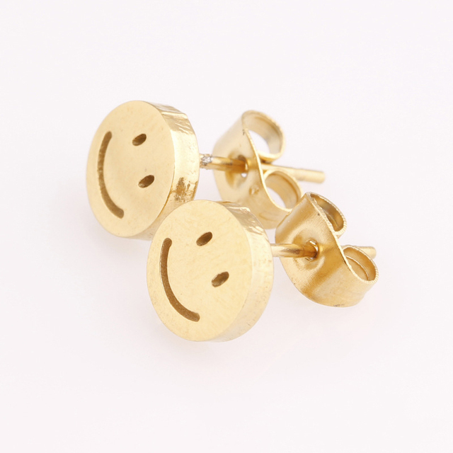 New Arrival Stainless Steel Gold Color Emoji Smile Face Hy Stud Earrings Women Funky Emoticons