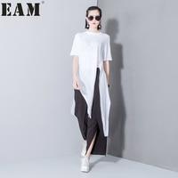 Soonyour 2017 Spring Summer Fashion New Solid Color Split T Shirt Korean Loose Modal Irregular