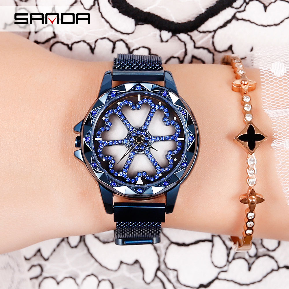 Женские Брендовые Часы с бриллиантовым циферблатом, наручные часы с магнитной сеткой и вращением на 360 градусов, кварцевые часы для женщин