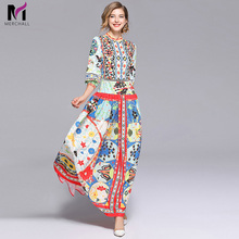 New Arrival 2019 Spring Womens O Neck Long Sleeves Button Detailing Floral Printed Striped Pleated Elegant Maxi Runway Dresses