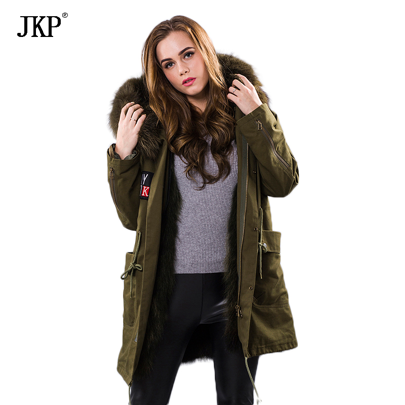 Women winter coat warm natural large raccoon fur collar real parka Raccoon/fox fur/Mink/ Lined jacket