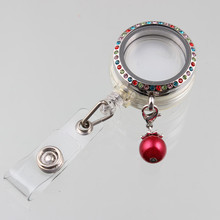 New 30mm Crystal Floating Locket Stainless Steel Glass Pendant With Retractable ID Badge Holders And Red Pearl